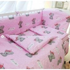 Ткань оптом Розовая с мишками бязь
