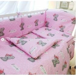 Ткань Розовая с мишками бязь